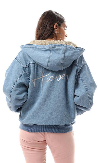 93457 Wool Padded Heavy Denim Sweatshirt - Light Blue - Ravin