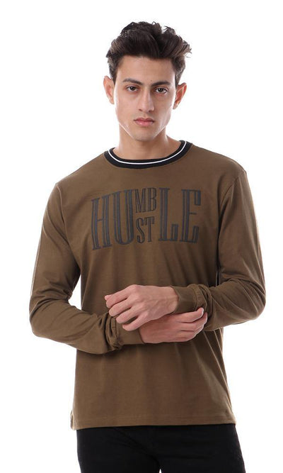 93460 Lined Round Neck Long Sleeves Army Olive Tee - Ravin