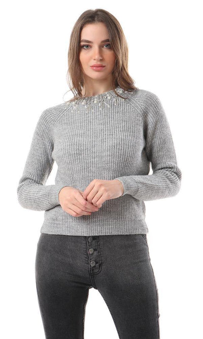 93480 Decorative Collar Knitted Heather Grey Pullover
