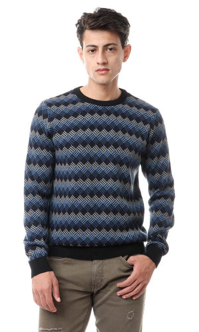 93545 Knitted Pattern Crew Neck Pullover - Grey, Steel Blue & Black - Ravin