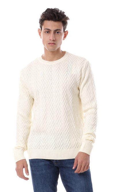 93574 Knitted Zigzag Crew Neck Pullover - Cream Yellow