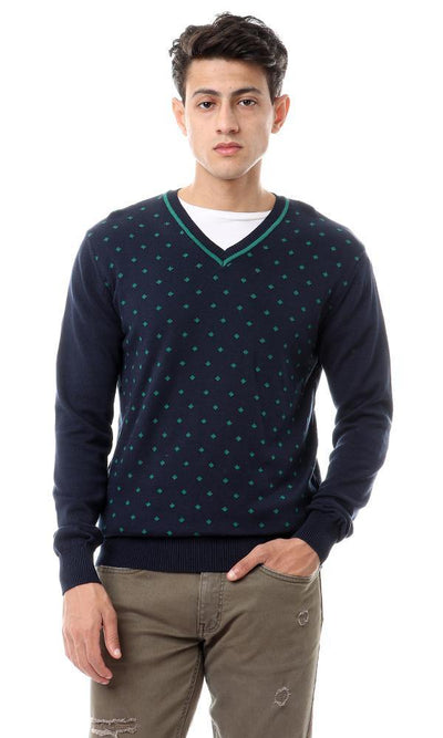 93643 Self Knitted Diamond Pullover - Navy Blue & Green - Ravin