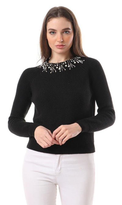 93689 Decorative Collar Knitted Black Pullover