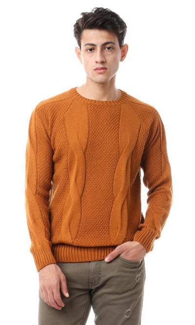 93718 Round Neck Acrylic Knitted Pullover - Havana - Ravin