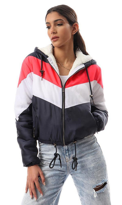 93755 Tri-Tone Zipped Padded Short Bomber Jacket - Multicolour