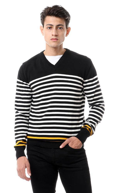 93841 Casual Striped Pullover With Hem Sleeves - Black - Ravin