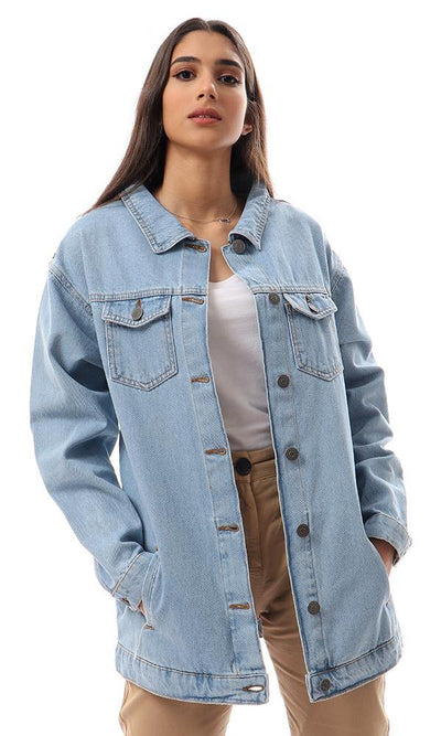 93874 Stitched Back Patch Long Denim Jacket - Light Blue - Ravin