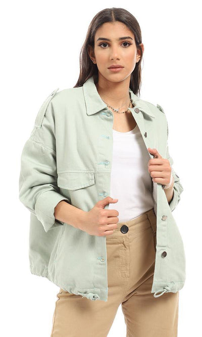 93876 Front Pockets Padded Fur Casual Jacket - Mint Green