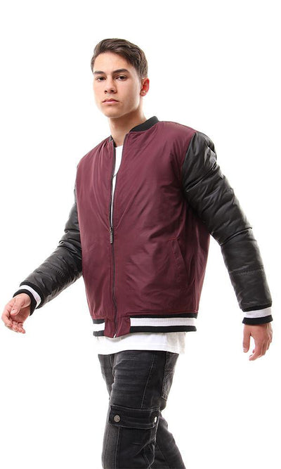 93923 Bi-Tone Band Collar Zipped Puffer Jacket - Burgundy & Black - Ravin