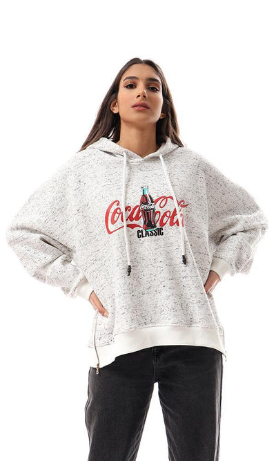 94007 Heather Off-White Printed Coca-Cola Hoodie - Ravin