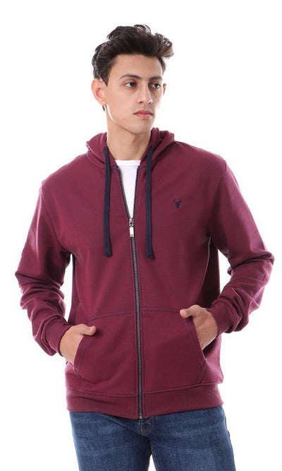 94108 Burgundy Coziness Hooded Neck Zipped Sweatshirt - Ravin