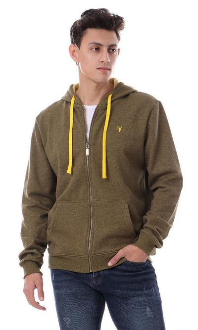 94112 Olive Coziness Hooded Neck Zipped Sweatshirt - Ravin