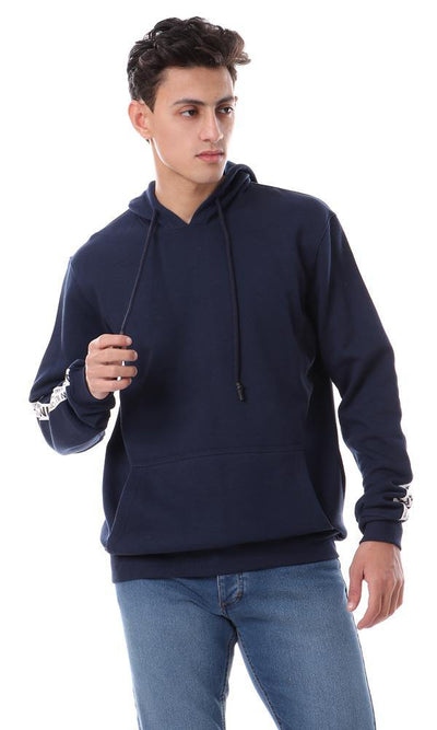 94139 Kangaroo Pocket Slip On Navy Blue Hoodie