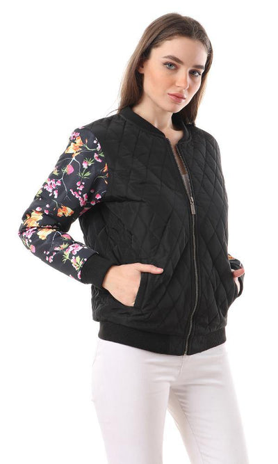 94140 Floral Sleeves Zipped Quilted Jacket - Black - Ravin