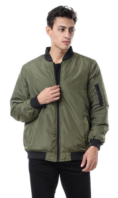 94309 Band Neck Zipper Waterproof Jacket - Olive - Ravin