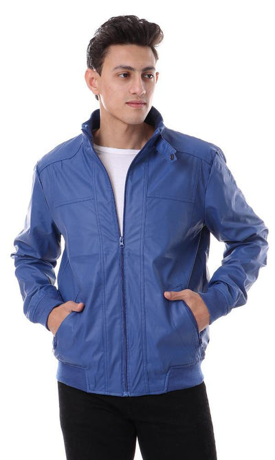 94310 Leather Zipper Polyester Jacket - Royal Blue - Ravin