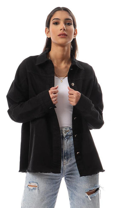 94333 Drop Shoulders Black Buttoned Gabardine Jacket