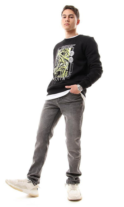 94343 Black Fleece Sweatshirt With Front Print - Ravin