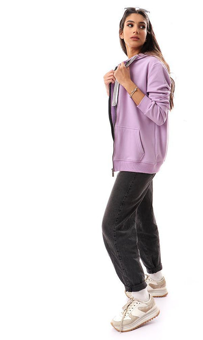 94348 Soft Fleece Padded Lilac Hooded Sweatshirt - Ravin