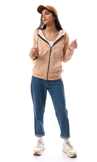 94349 Soft Fleece Padded Sand Hooded Sweatshirt - Ravin