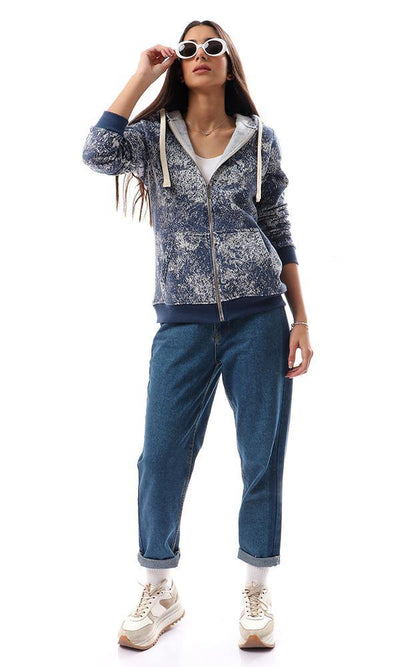 94351 Coziness Hooded Sweatshirt With Pockets - Navy Blue & White - Ravin