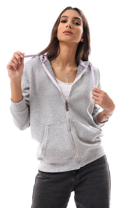 94352 Grey Lightweight Intrecciato Grey Sweatshirt - Ravin