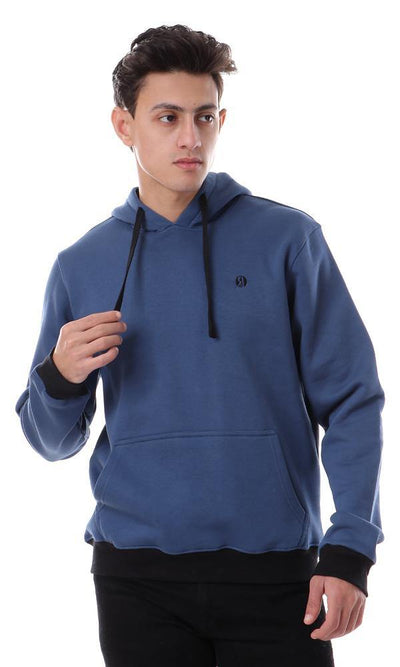 94360 Hooded Neck With Kangaroo Pocket Solid Hoodie - Teal Blue - Ravin