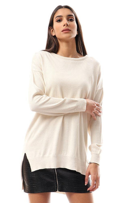 94382 High-Low Winter Long Basic Pullover - Off-White - Ravin