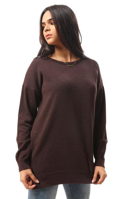 94384 High-Low Winter Long Basic Pullover - Dark Chocolate - Ravin