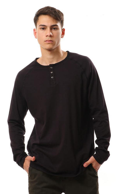 94395 Round Buttoned Full Sleeves T-Shirt - Black