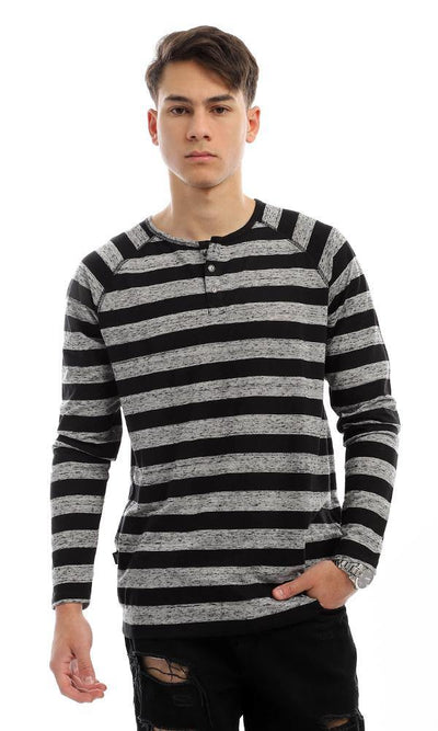 94413 Wild Striped Black & Grey Long Sleeves Henley Shirt