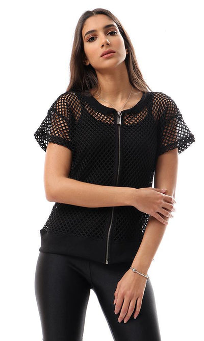94522 Perforated Short Sleeves Black Jacket - Ravin