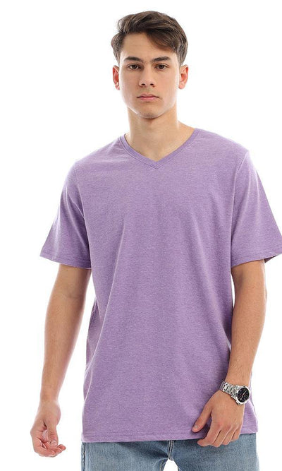 94607 Cotton V-Neck Regular Fit T-Shirt - Light Purple
