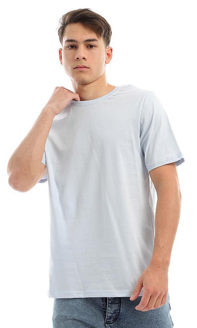94616 Short Sleeves Solid Basic Powder Blue Tee