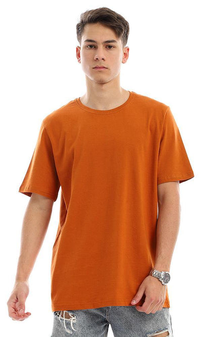94617 Basic Plain Half Sleeves T-Shirt - Burned Orange