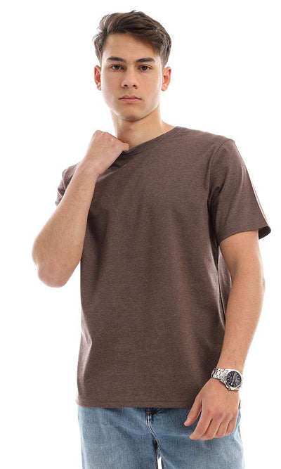 94618 Round Collor Trendy T-Shirt - Heather Brown