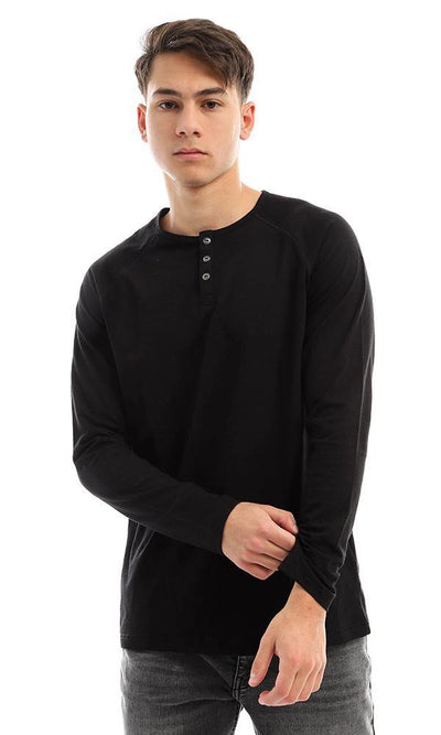 94629 Long Sleeves Buttoned Black Henley Shirt