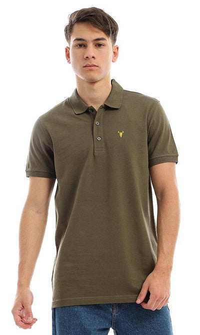 94637 Dark Olive Short Sleeves Casual Polo Shirt