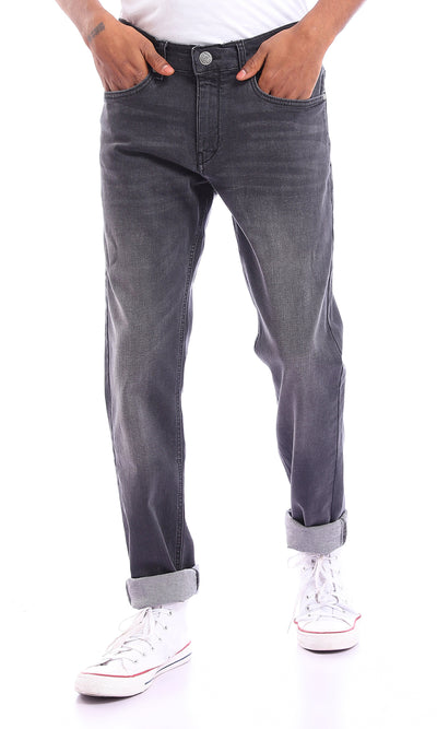 94688 Slim Fit Black Casual Jeans With Front Wash