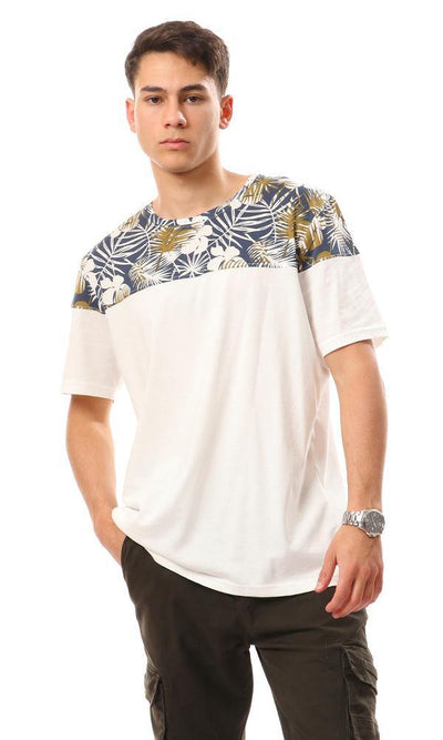 94885 Cotton T-Shirt With Upper Self Pattern - Off White