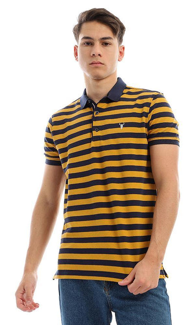 94988 Wild Striped Short Sleeves Mustard & Navy Blue Polo Shirt