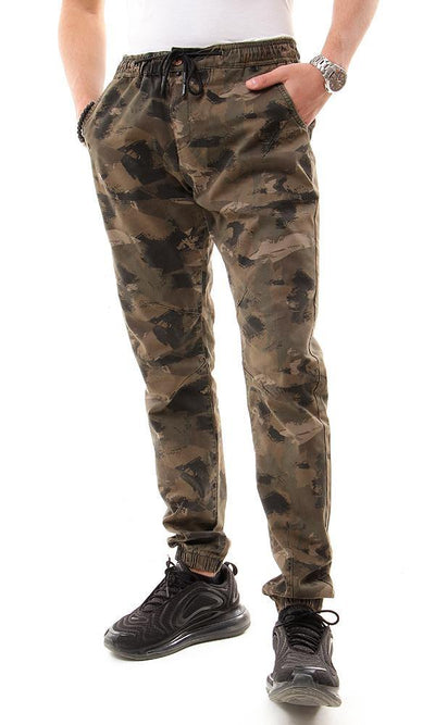 94991 Elastic Waist With Drawstring Army Color Pants - Ravin