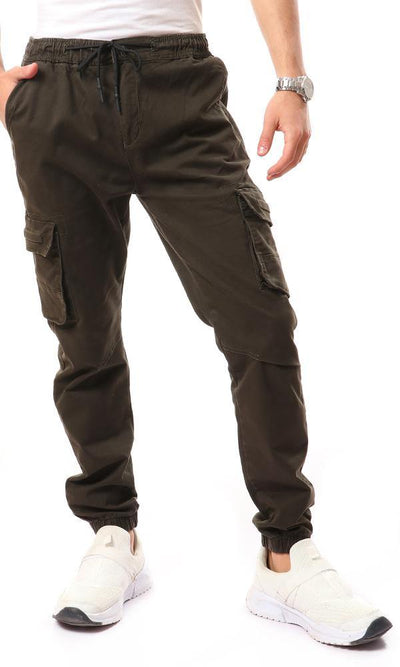 94993 Casual Double Clousre Cargo Pants - Army Green
