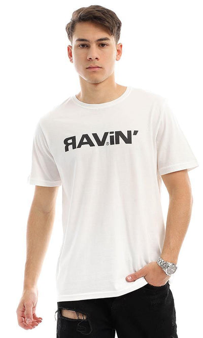 "95295 Front Print ""Ravin"" Off-White Summer T-shirt"
