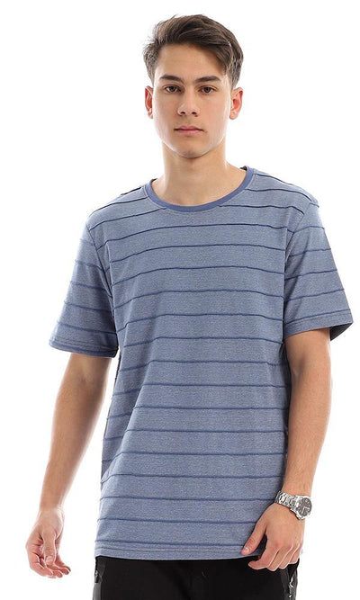 95344 Striped Crew Neck Cotton T-Shirt - Heather Blue