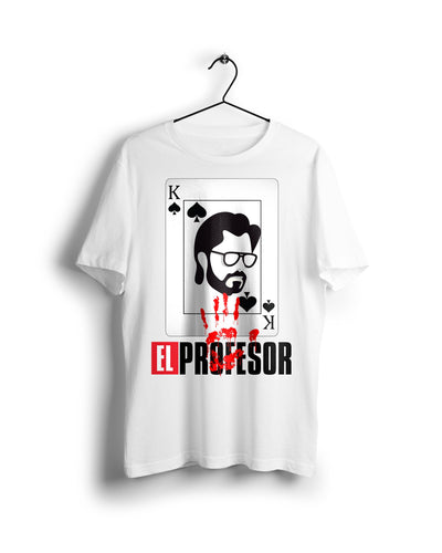 El Professor La Casa De Papel - Digital Graphics Basic T-shirt White - Ravin