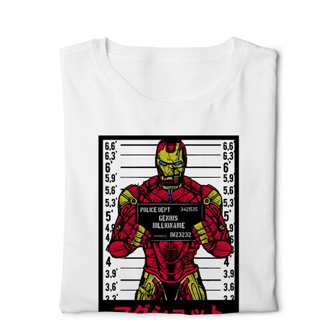 Iron Man Mugshot - Digital Graphics Basic T-shirt White