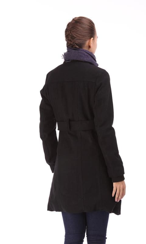 A-line Buttoned Coat - Black - women coats & jackets