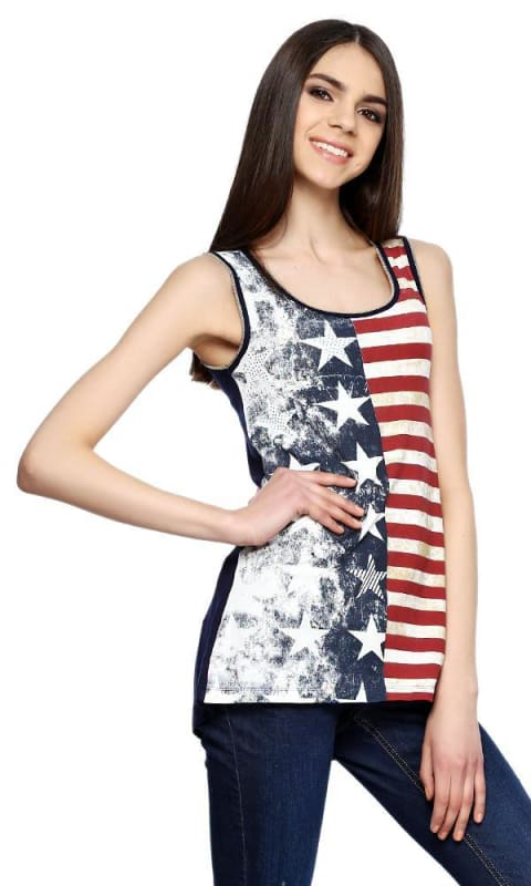 American Top - Red & Navy Blue - women tops