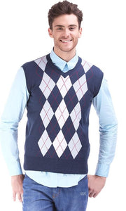 Argyle Sleeveless Pullover - Navy Blue - male vest